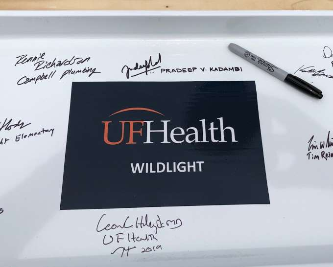 UF Health Wildlight topping-off ceremony: signed beam