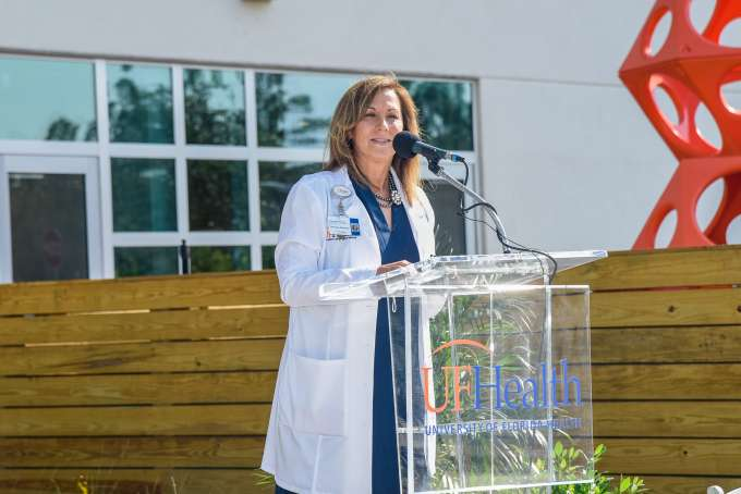 Jeanne Bradshaw, director of UF Health Rehabilitation Services, talked about services offered in the Wildlight location.