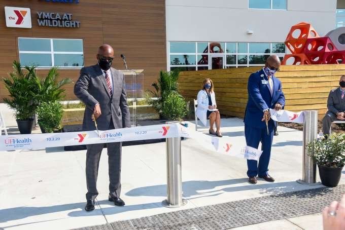 Eric Mann and Dr. Haley cut the ribbon at the conclusion of the event.